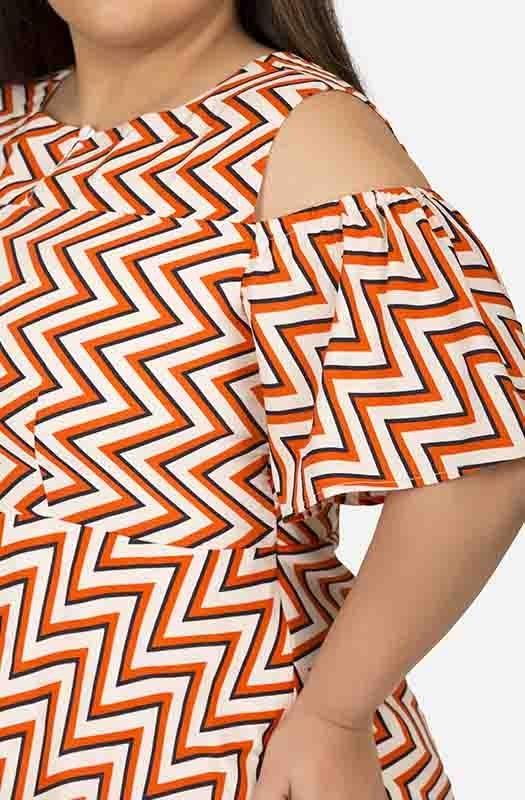 Cold shoulder Geometrical print dress