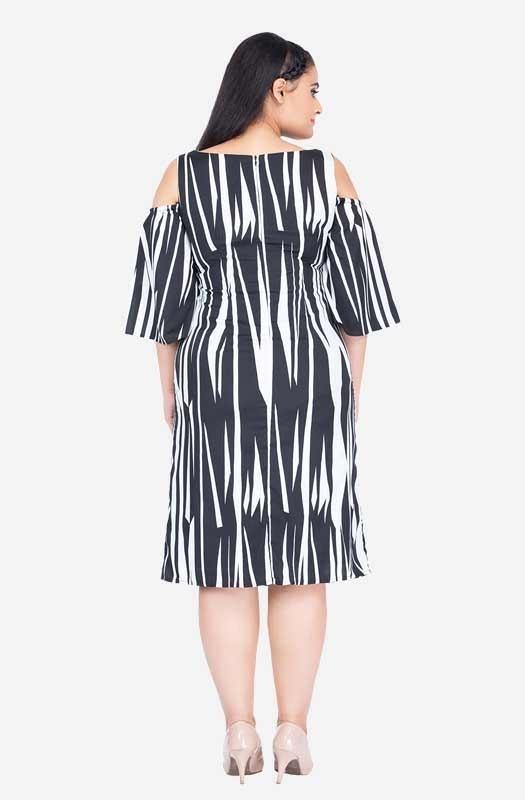 Cold-shoulder Monochrome Dress