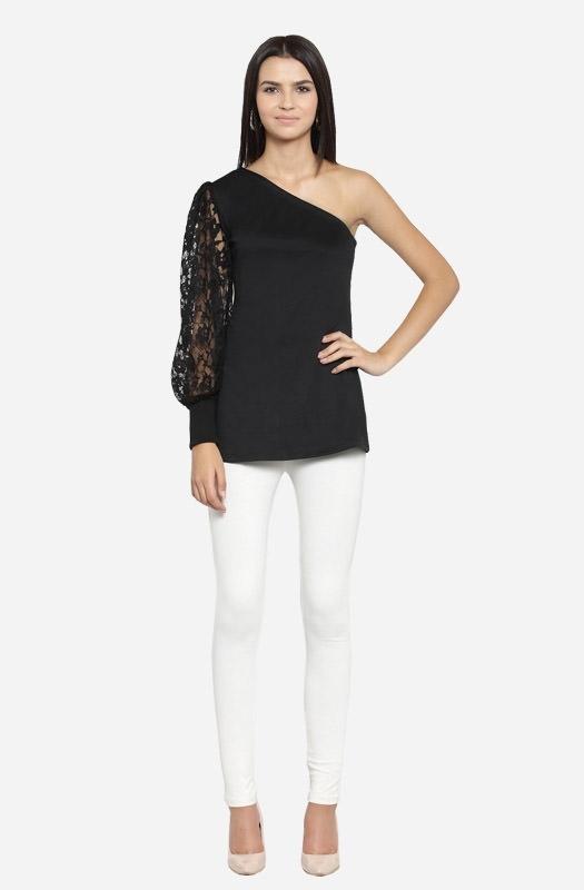 Black Off-Shoulder Long Sleeve Top