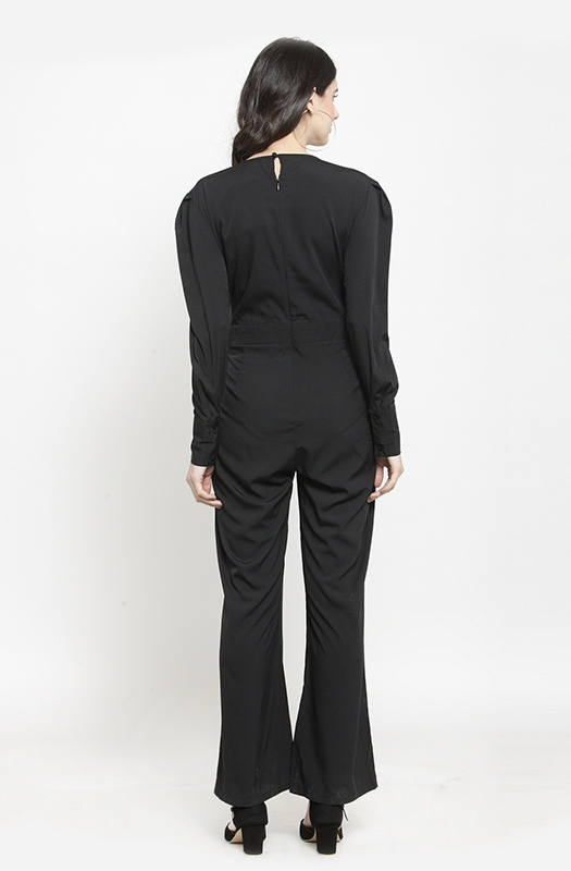 Monochrome Formal Jumpsuit with Half Black and Half White Bodice