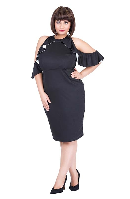 Flowy Cold-Shoulders Bodycon Party Dress
