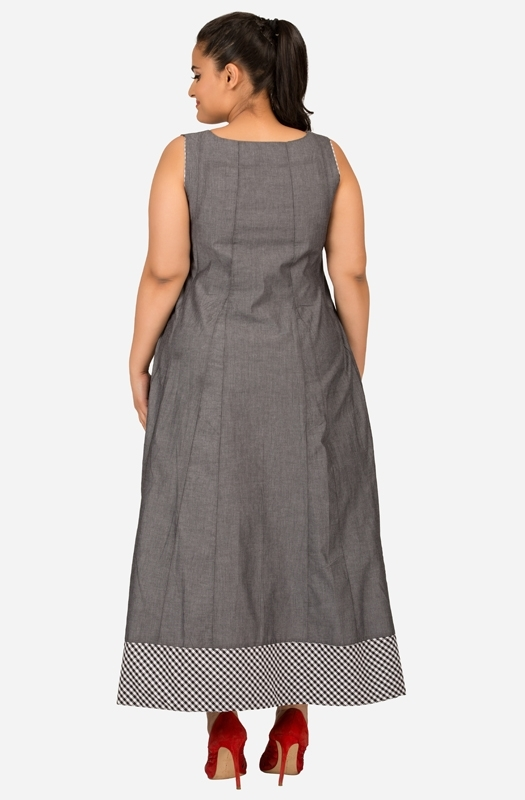Floor Length Grey Flare Dress