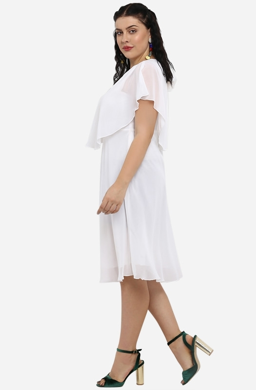 Casual Fit and Flare Cape Dress