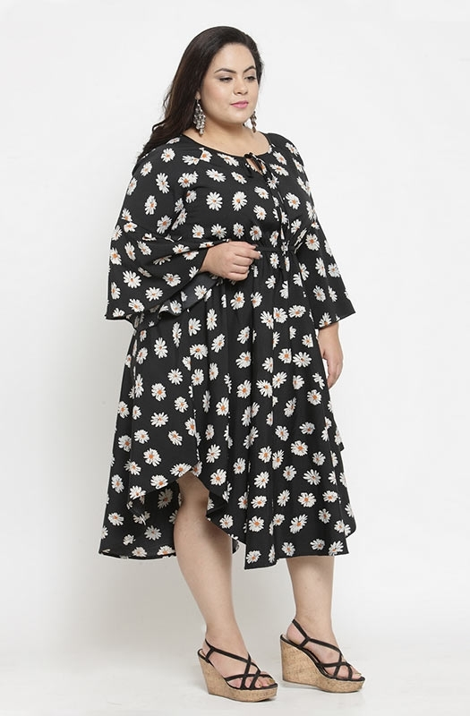 Casual Floral Print Drawstring Dress with Cape Sleeves and Asymmetrical Hemline