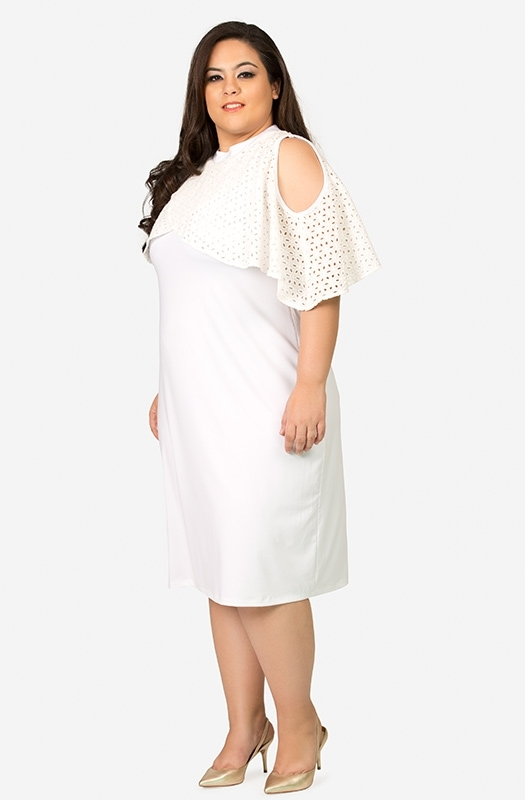 Formal Cold Shoulder White Dress with Lacy Cape Sleeves