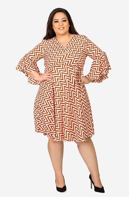 Geometric Print V Neck Fit and Flare Casual Dress