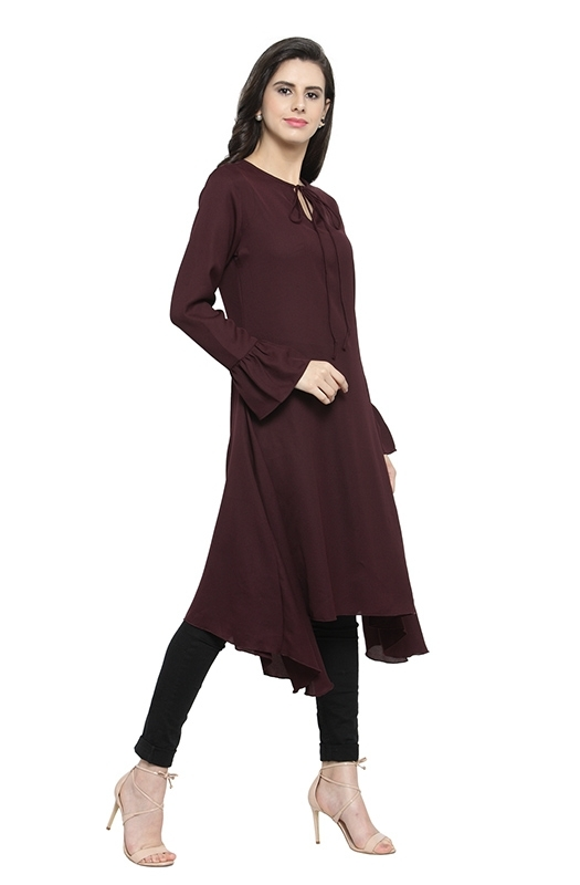 Long Asymmetrical Casual Tunic with Flared Sleeves