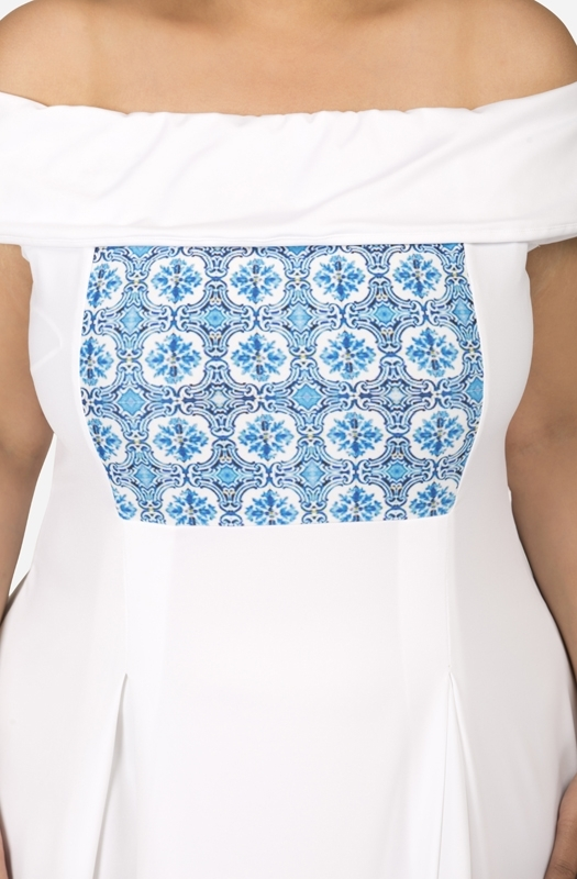White and Blue Off shoulder Fit and Flare Dress