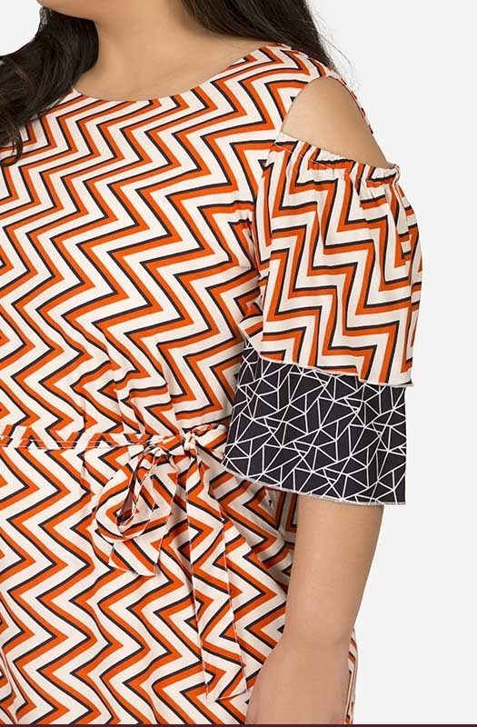 Contrast Geometrical straight fit dress