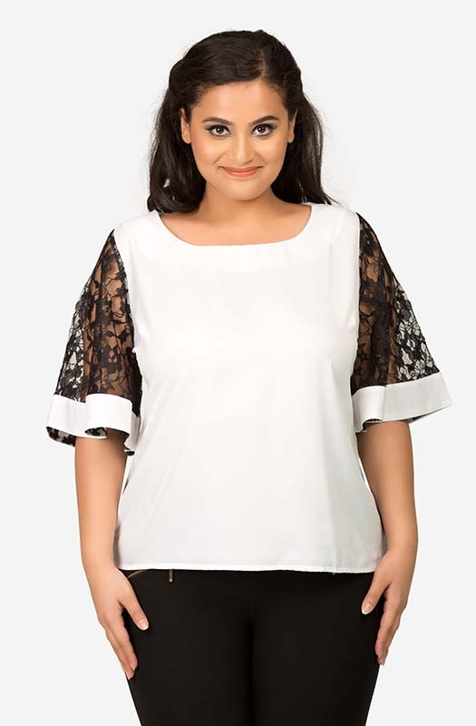 White Top with Black Lace Sleeve