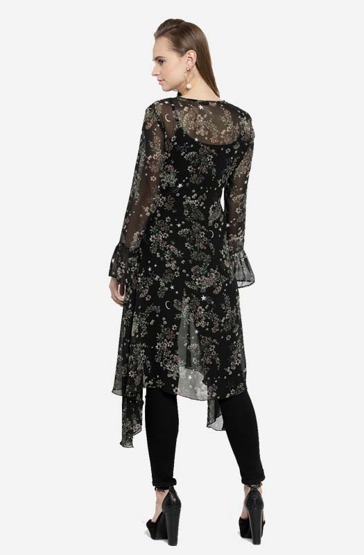 Casual Black Floral Sheer Top with Keyhole Neck and Asymmetrical Hemline
