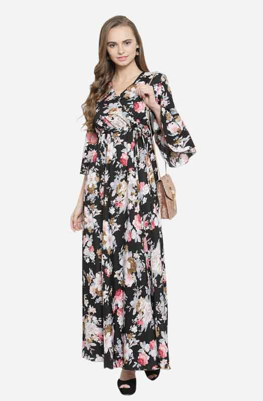 Casual Floral Maxi Dress with V Neck and Angel Sleeves