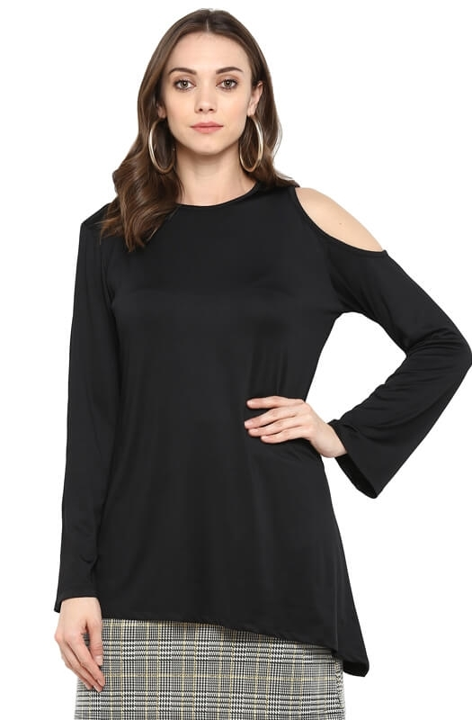 Black Asymmetrical Cold-Shoulder Party Top