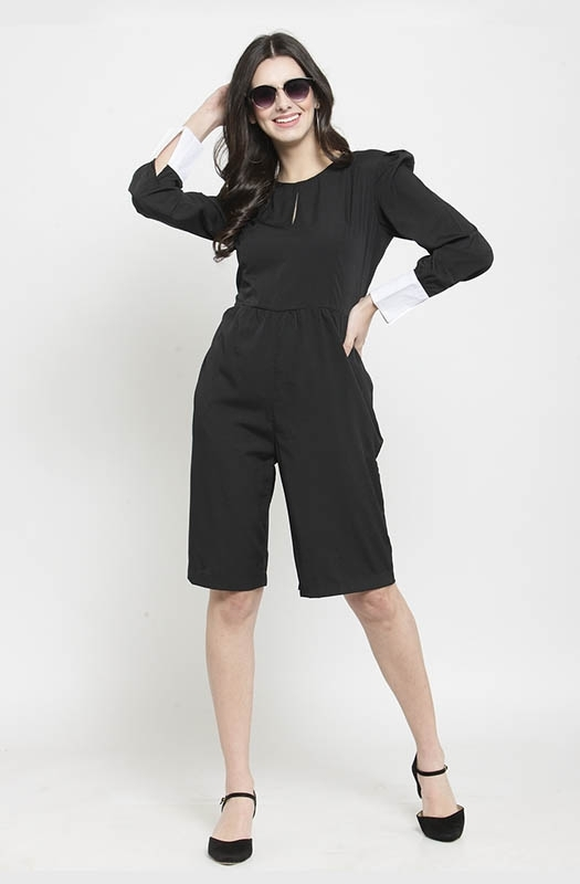 Black Casual Slit-front Jumpsuit with Contrast Cuff