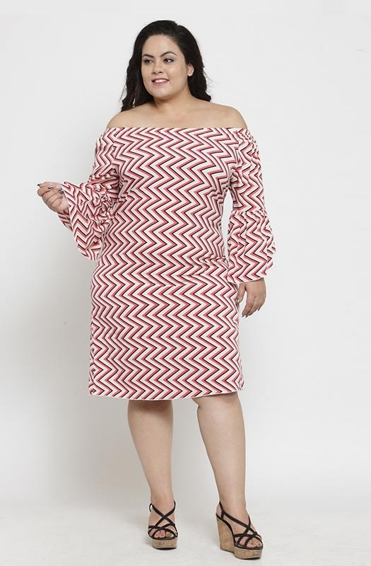 Casual Geometric Print Off-shoulder Dress with Angel Sleeves