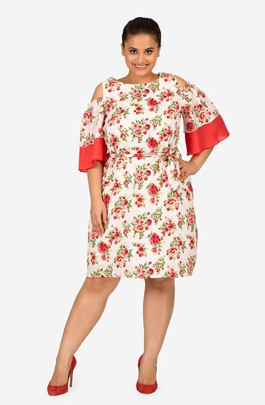Contrast Floral straight fit dress