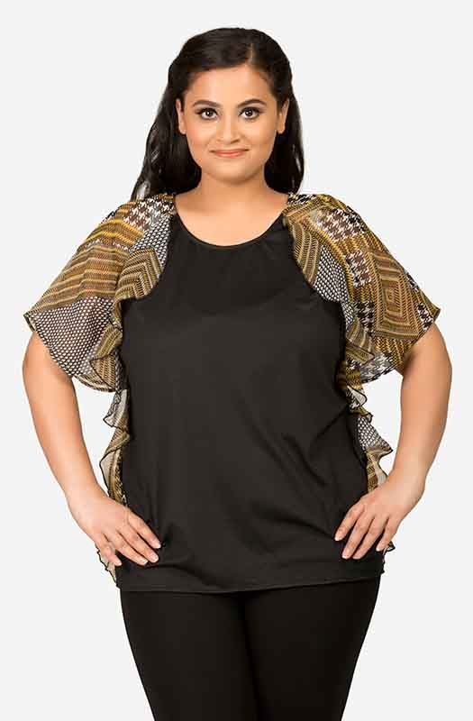 Women's Black Ruffled Top
