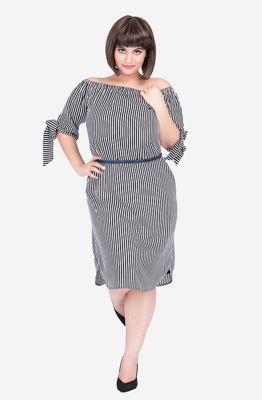 Striped Off-shoulder Dress with Tie-Sleeves