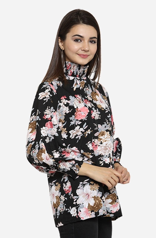 Black Choker Neck Long Sleeves Printed Flared Casual Top