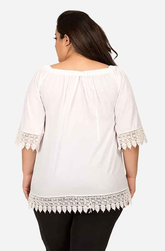 White Off-Shoulder Casual Top with Lace Trim