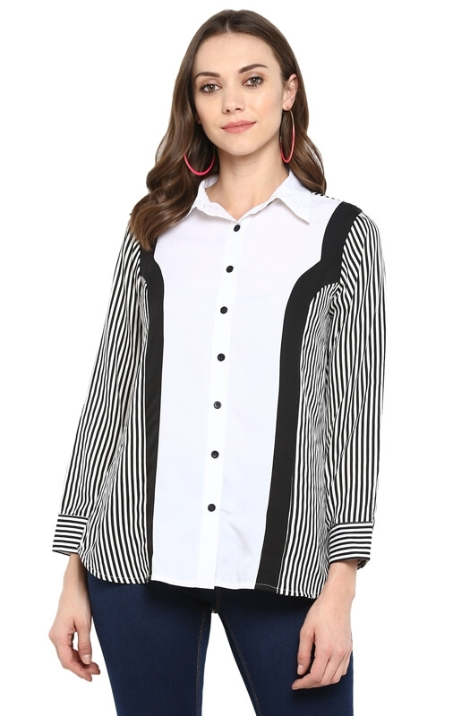 Formal Button-Down Shirt with Nautical Print Side Panels