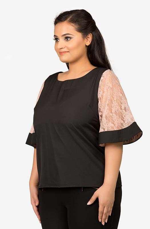 Black Top with Lace Sleeve