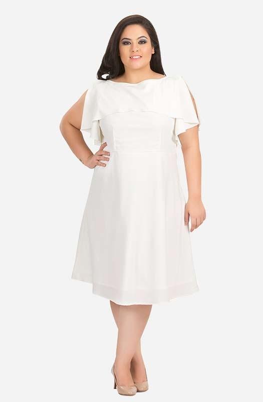 White Ruffle Layered A-Line Party Dress