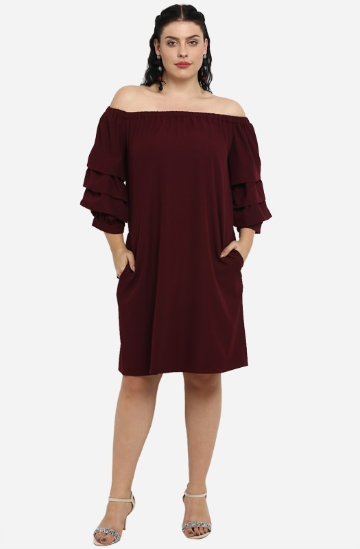 Solid Off the Shoulder Shift Party Dress with ruffled sleeves
