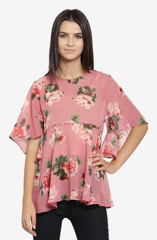 Pink Printed Round Neck Flared Top