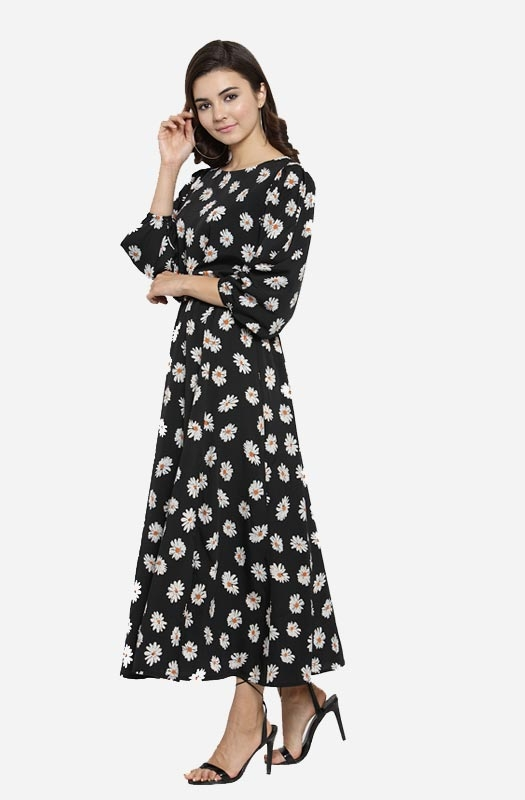 Formal Boat Neck Floral Print Maxi Dress with Bishop Sleeves