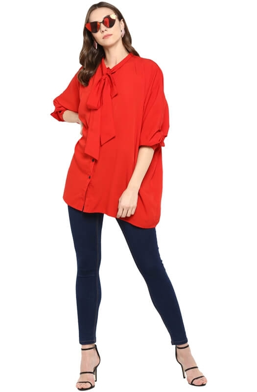 Solid Oversized Casual Shirt with Button Cuff