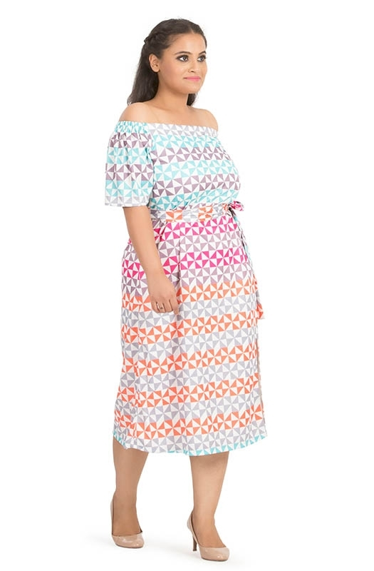 Off-Shoulder Side-Slit Casual Dress