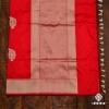 Fluorescent Red Handspun Banarasi Sari With Traditional Paisley Motifs