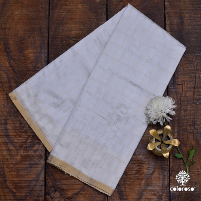 Light Grey Handloom Chanderi Sari With Muted Gold Stripes