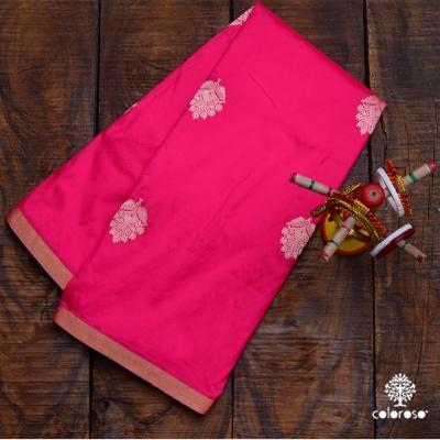 Fuschia Handloom  Banarasi Sari With Golden Floral Motif