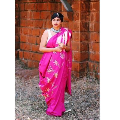 Rich rose pink handloom khadi with lush green Chikankari weave