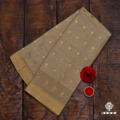 Biscuit Colour Handwoven Chanderi With Glittering Gold