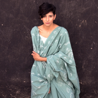 Unique sea green khadi sari with contemporary Chikankari work