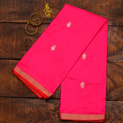 Pink handloom katan banarasi with red salvage and golden minimalistic motifs