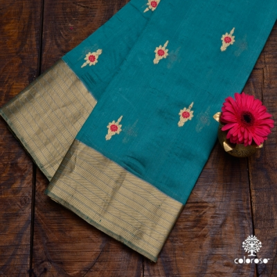 Green Handloom Chanderi Sari With Red And Gold Meena Work