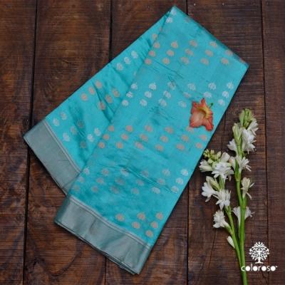 Sky Blue Handwoven Chanderi In Roopa Sona Zari