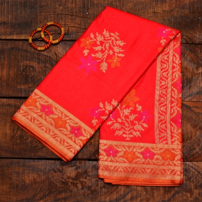Peach banarasi with bright orange and fuschia  flowers