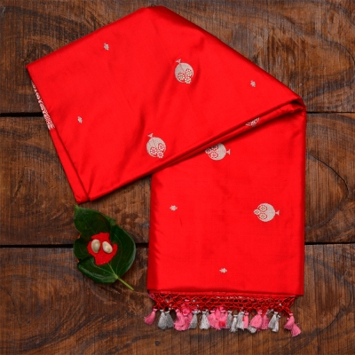 Red handspun katan banarasi with silver floral clusters and tasselled aanchal