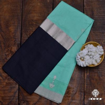 Aquamarine And Black Handloom Chanderi Sari