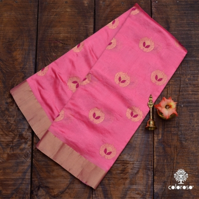 Pastel Pink Chanderi With Gold And Red Meenakari