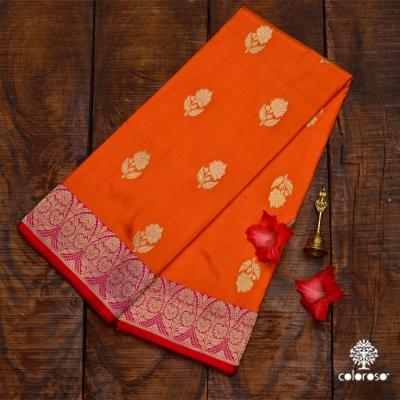Orange Handloom Banarasi With Red Border