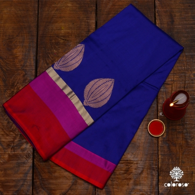 Ink Blue Handwoven Banarasi With Red And Rani Coloured Border