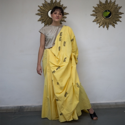 Bright yellow handloom khadi with black Tiger motifs in Chikankari weave
