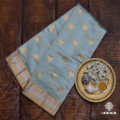Light Steel Blue Handloom  Banarasi With Roopa Sona Zari