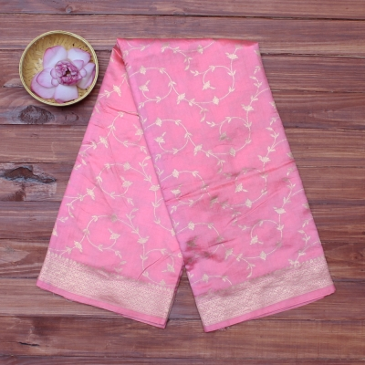 Rose pink handloom banarasi with silver zari work